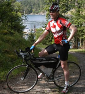 Peter ready for a training ride from Musgrave Landing on Salt Spring Island