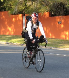 Peter Freeman finishing a15,400 kilometer unsupported bicycle journey around Australia.